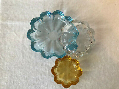 Vintage 1940s beautiful 3 glass nesting ash trays blue clear amber