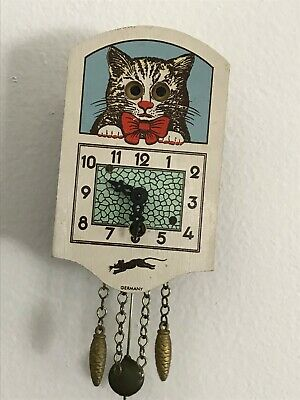 "Vintage 6.5"" German Wall Clock • Cat • Moving Eyes • Pendulum • Has Key"