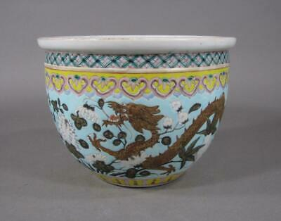 Nice Signed Antique Chinese Famille Rose Dragon Jardiniere, Turquoise, Carp