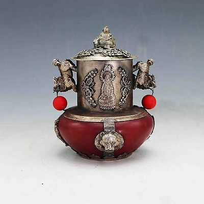 COLLECTIBLE CHINESE OLD JADE INLAID TIBETAN SILVER&BUDDHA LID INCENSE BURNER b01