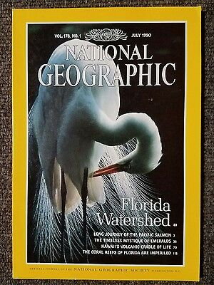 National Geographic magazine July 1990 Florida Water, Salmon, Emeralds, Coral