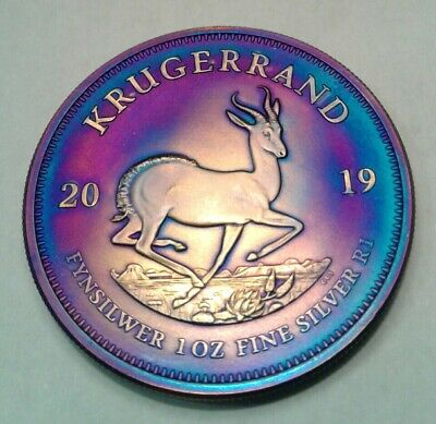 2019 South Africa 1 oz silver  Krugerrand coin with beautiful toning, TONED..
