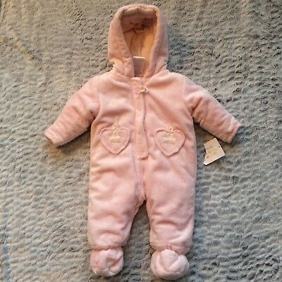 2b3ff66bd Absorba Infant Baby Girl Snowsuit Size 3-6 Months Pink Plush Zip Front Hood  New