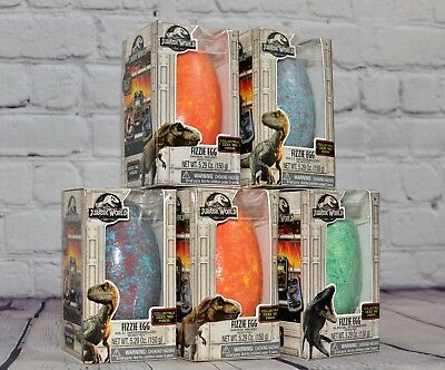 5 Jurassic World Scented Bath Bomb Fizzie Egg- Collectible dog tag inside