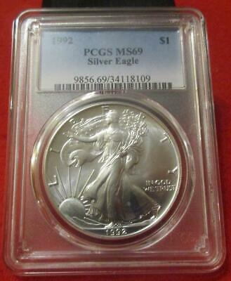 1992 PCGS MS 69 Silver Eagle. ASE. Blast White                            MF-240