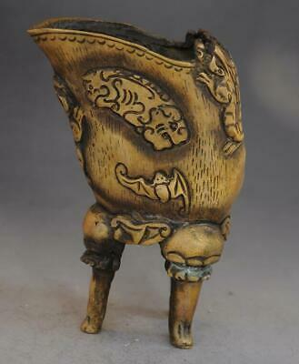 chinese old pure copper hand-carved bat and dragon three foot cup d02