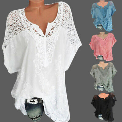 c8a041bfb5e5 Women Sexy V-Neck Lace Short Sleeve Hollow Out Casual Blouse Loose T-Shirt