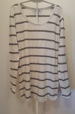 dfa2cf16696bc A Pea In The Pod Maternity Shirt Size Large Long Sleeve cream and black  striped