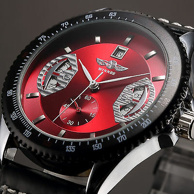 Mens Watch Mechanical Red Dial Leather Analog Skeleton Classic Present Luxury