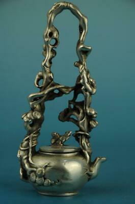 Old Chinese cooper-plating silver hand-carved pine tree squirrel teapot c02