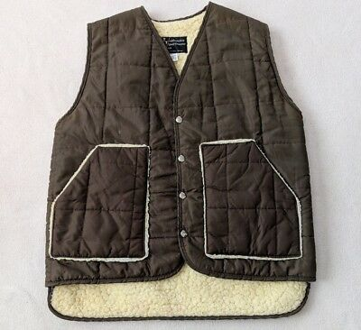 VTG 60s 70s Columbia Sportswear Puffer Vest Men's M Quilted Sherpa Lined Green