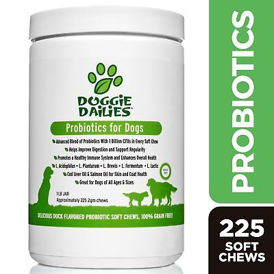 Doggie Dailies Advanced Probiotics Supplement for Dogs, 225 Chews, Made in USA