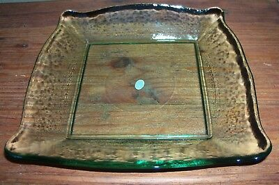 Square Green Wavy Glass Vanity Tray Serving Dish Made In China