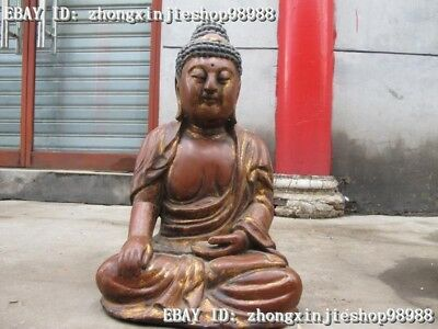 "23"" China Folk  Wood carved Sakyamuni Shakyamuni Buddha Statue"