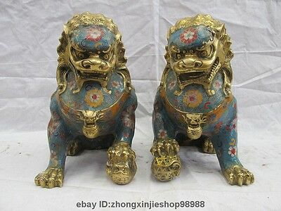 Chinese Bronze copper Cloisonne Enamel Foo Fu Dog Guardion Door Lion Pair