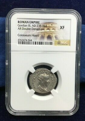 Ancient Coin Gordian Silver Double Denarius NGC Extremely Fine XF Roman Empire