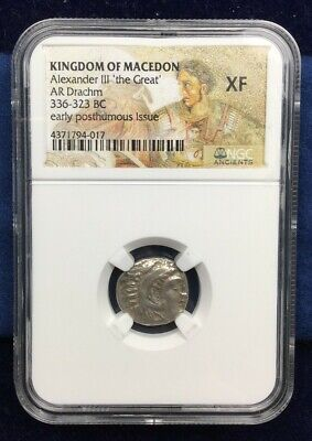 Ancient Greek Coin Alexander the Great Silver Drachm NGC XF 336-323 BC Greece
