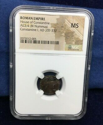 Ancient Roman Empire Coin Constantine I BI Nummus NGC Mint State MS 307-337 AD