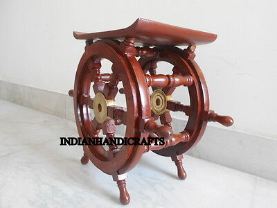 Collectors Vintage TugBoat Ship Wooden Steering Wheel Table Home Decor Item