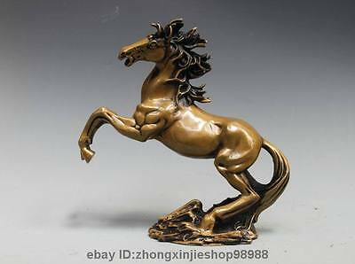 Chinese Folk Pure Bronze Copper War Horse Family Fengshui Decor Statue