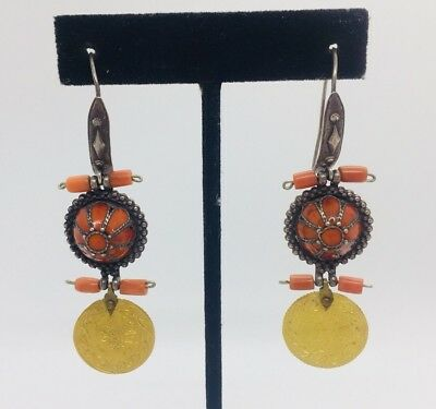 Antique Ottoman Turkish 22k Gold Coin, Silver & Coral Dangle Earrings
