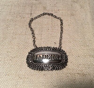 Charles Rawlings Antique English Georgian Sterling Silver Madeira Liquor Label