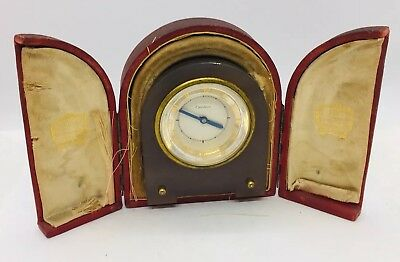 Cartier Antique Art Deco Gray Agate Manual Wind Clock & Original Box