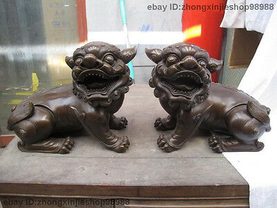 China Royal Lucky Feng Shui Pure purple Bronze Evil Fu Foo Dog Lion Statue Pair