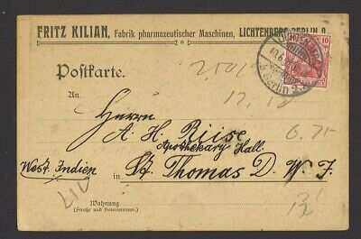 Germany 1909 Commercially Used to St. Thomas Danish West Indies Nice Destination