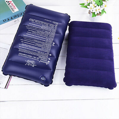 Portable Outdoor Camping Air Inflatable Pillow Folding Flocking Travel Cushion W
