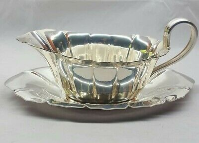 1947 Reed & Barton Heavily Sterling Gravy Boat With Under plate saucer 5700