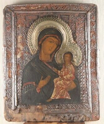 Russian icon Holy Mother of God of Tikhvin 19th century 100% original