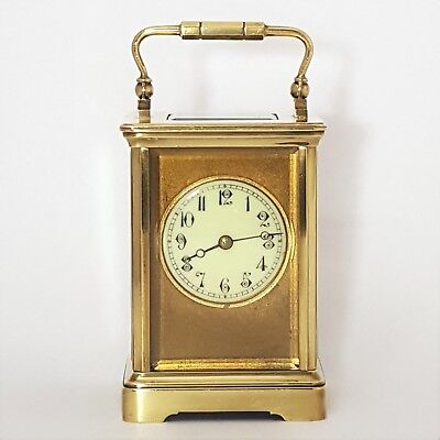 Quality French Brass Corniche Cased Striking Carriage Clock C.1900