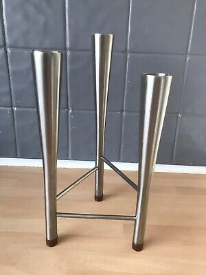 Robert Welch Triple Candle Holder, Teak And Stainless Steel, Old Hall