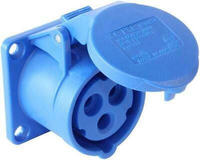Pce - 313-6 - 16a 230v 3p Panel Mounted Cee Industrial Socket, Ip44, Blue