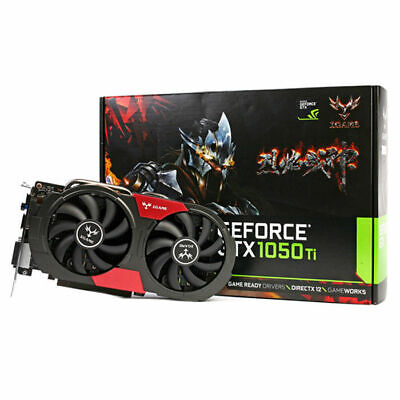 Black Colorful iGame 1050Ti Graphics Card 128bit DDR5 6Pin Computer Hardware+Fan