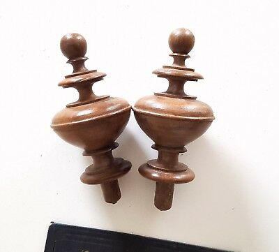 Pair of antique wood post finial end cap topper French architectural 5.16""