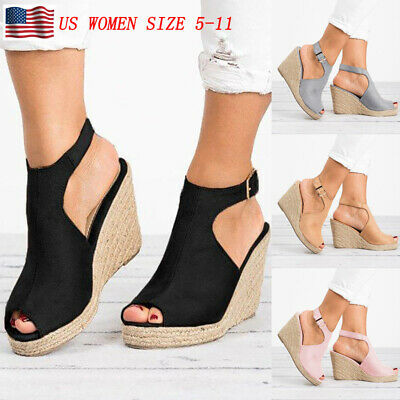 db44123acee2 Womens Wedges Heel Sandals Casual Straw Platform Peep Toe Ladies Buckle  Shoes US