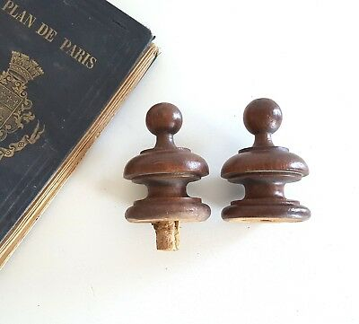 Pair of antique wood newel post finial end cap French architectural salvage 2.46