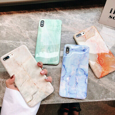 Pastel Marble Pattern Glossy TPU Soft Case Cover For iPhone XS Max XR X 6s 7 8