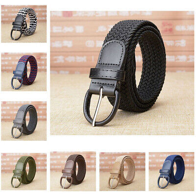 Men's New Leather Covered Buckle Woven Elastic Stretch Belt Unisex AU STOCK