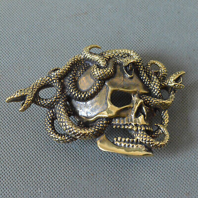 Handmade Pure Copper Human Skull Snake Mens Belt Buckle COOL Punk Personal Gift