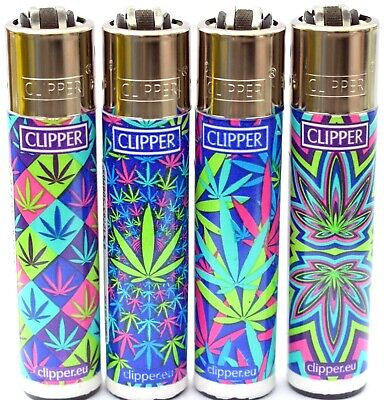 4 x Clipper Lighters LEAVES COLOURS  Gas Lighter RARE Refillable SET ++ * NEW**