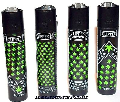 4 x Clipper Lighters WEED BANDANAS Gas Lighter RARE Refillable * NEW** BLACK TOP