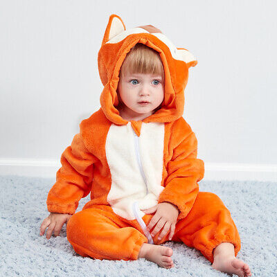 Baby Fox Costume Newborn Cute Alive Flannel Coverall 0-24 Months Kid Pajamas