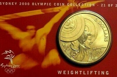 Australia 2000 Uncirculated $5 Carded coin Sydney Olympics - WEIGHTLIFTING