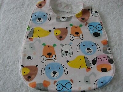 Puppy Dog Faces Pink Flannelette Baby Bib Cotton Front Towelling Back Handmade