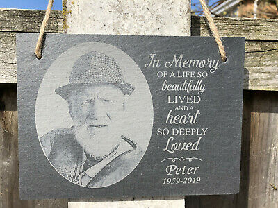 Photo Personalised Engraved In Loving Memory Hanging Slate Memorial Plaque