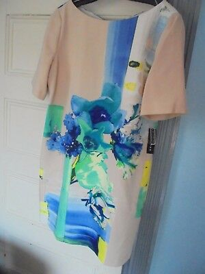 METAPHOR Sze 12 New $80 Poly Spandex DRESS Blue on cream Floral New pull-on