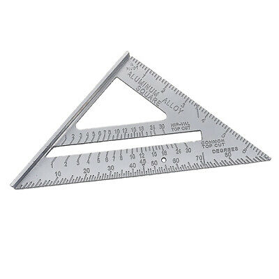 Measuring Square Triangle Ruler Angle Protractor Miter Metric 7inch Silver